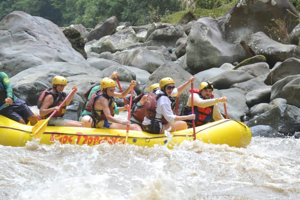 Action shot during Rios Tropicales rafting trip