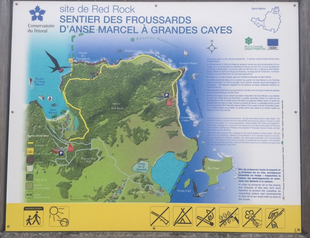 """Map of the trail - """"Hiking in St. Martin"""" - Two Traveling Texans"""