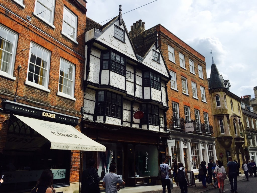 "Some of the cute English buildings typical in Cambridge - ""Punting in Cambridge, England – And I am not Talking about Football"" - Two Traveling Texans"