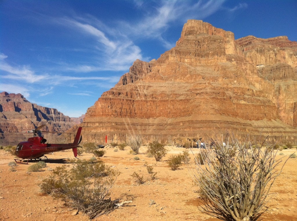 The helicopter parked on the floor of the Grand Canyon