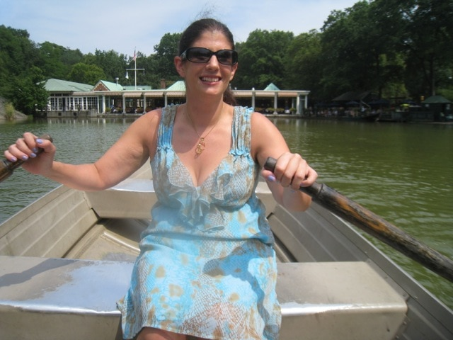 Anisa rowing on The Lake in Central Park