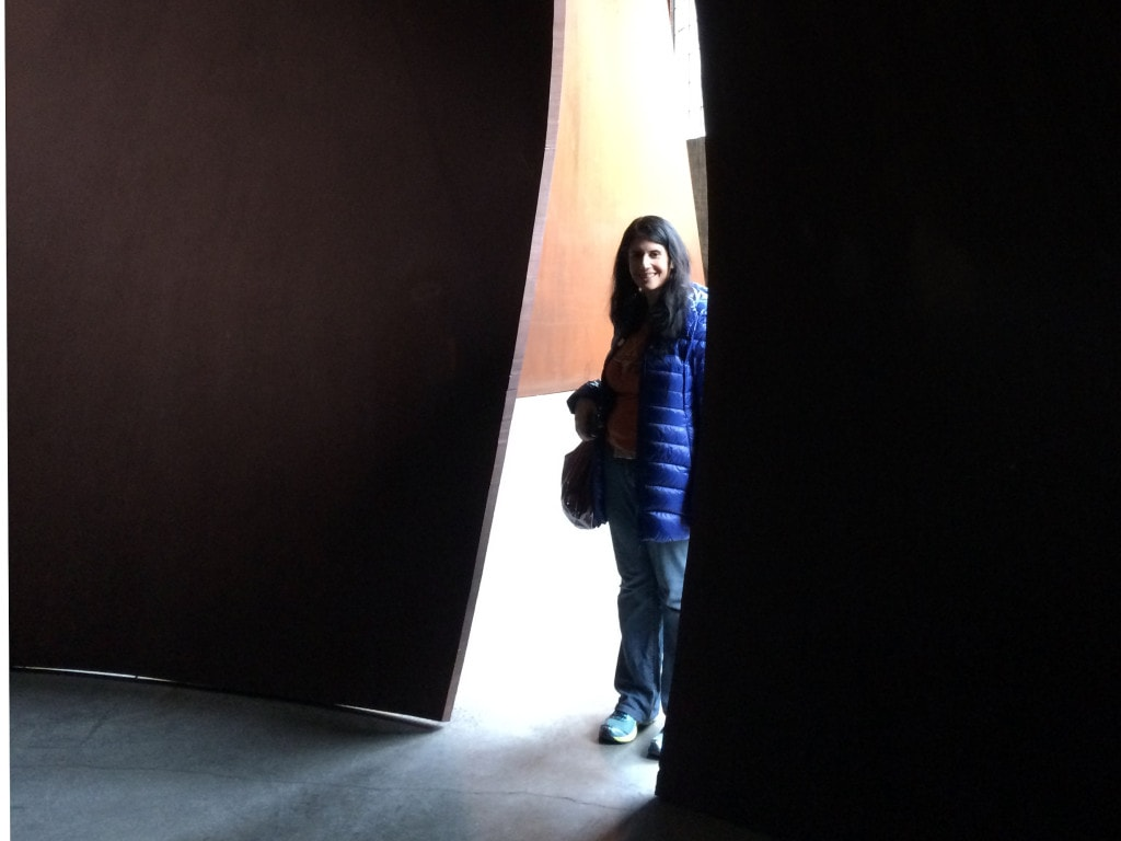 Anisa entering the Richard Serra artwork maze at DIA Beacon - Beacon, NY Day Trip for World Class Contemporary Art - Two Traveling Texans