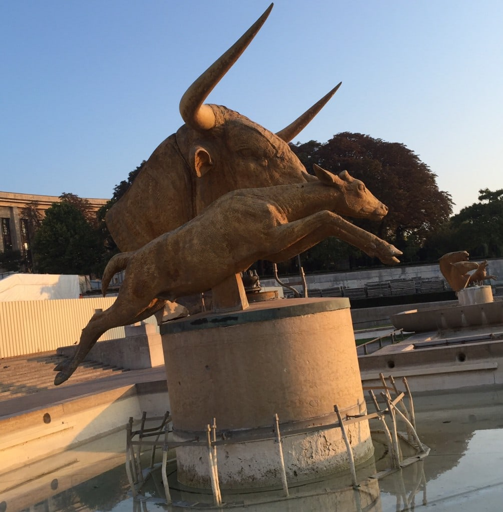 """Fountains at Place de Trocadero were not on. I did like the Longhorn statue though! - """"12 Random Observations about Paris, France"""" - Two Traveling Texans"""