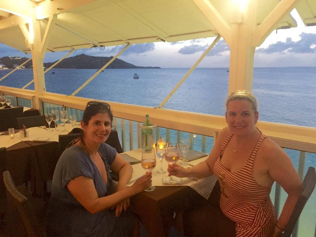 Anisa and Katherine enjoying dinner in St. Martin