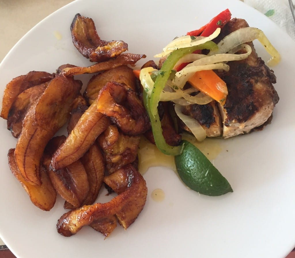 "Mahi-Mahi with a side of plantains - ""Our Five Favorite Restaurants in St Martin"" - Two Traveling Texans"