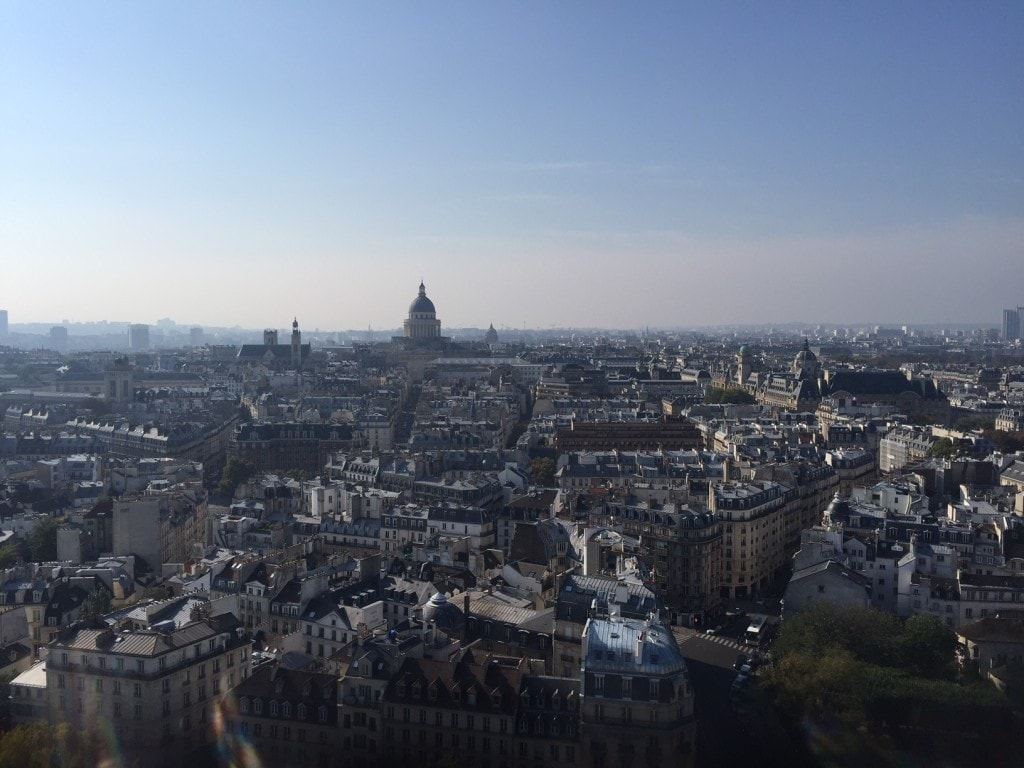 "View from the top, the dome in the distance is the Pantheon. - ""Morning with Gargoyles at Notre Dame de Paris"" - Two Traveling Texans"