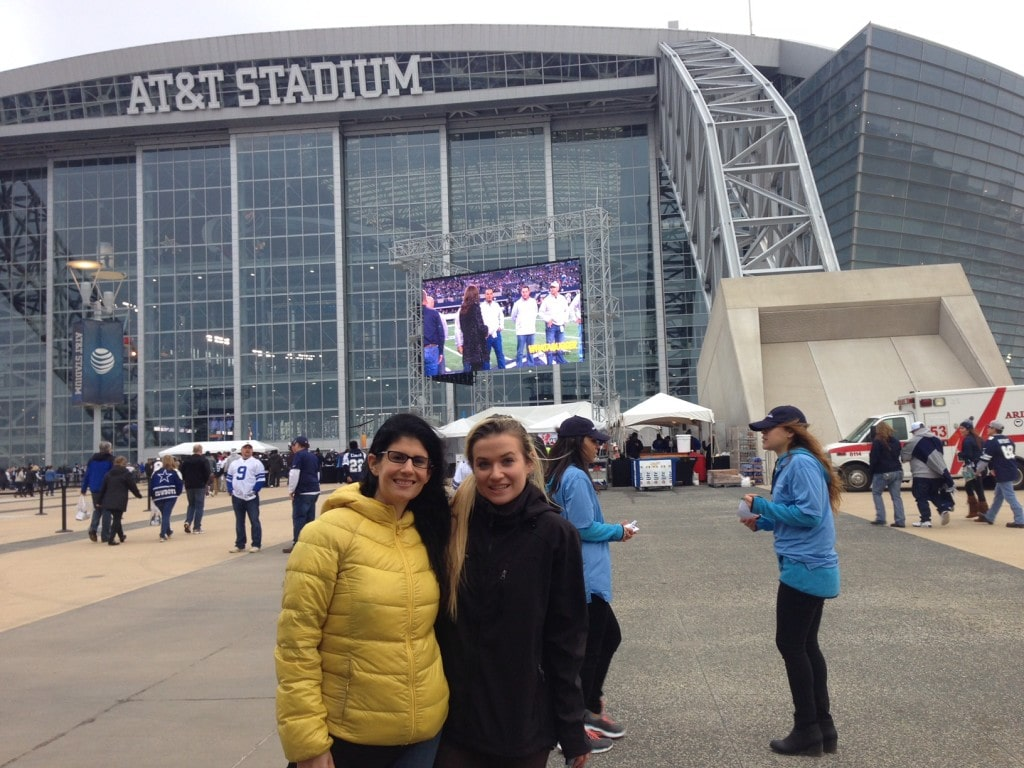 "Anisa and her niece, Marisa, before the Dallas Cowboys vs Colts game in December 2014 - ""Dallas Cowboys Stadium Tour"" - Two Traveling Texans"