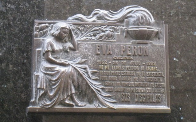 The name plate on Evita's grave.