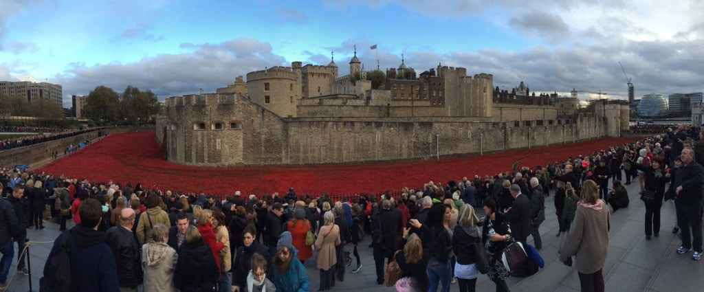 The Tower of London surrounded by the poppies and lots of people!