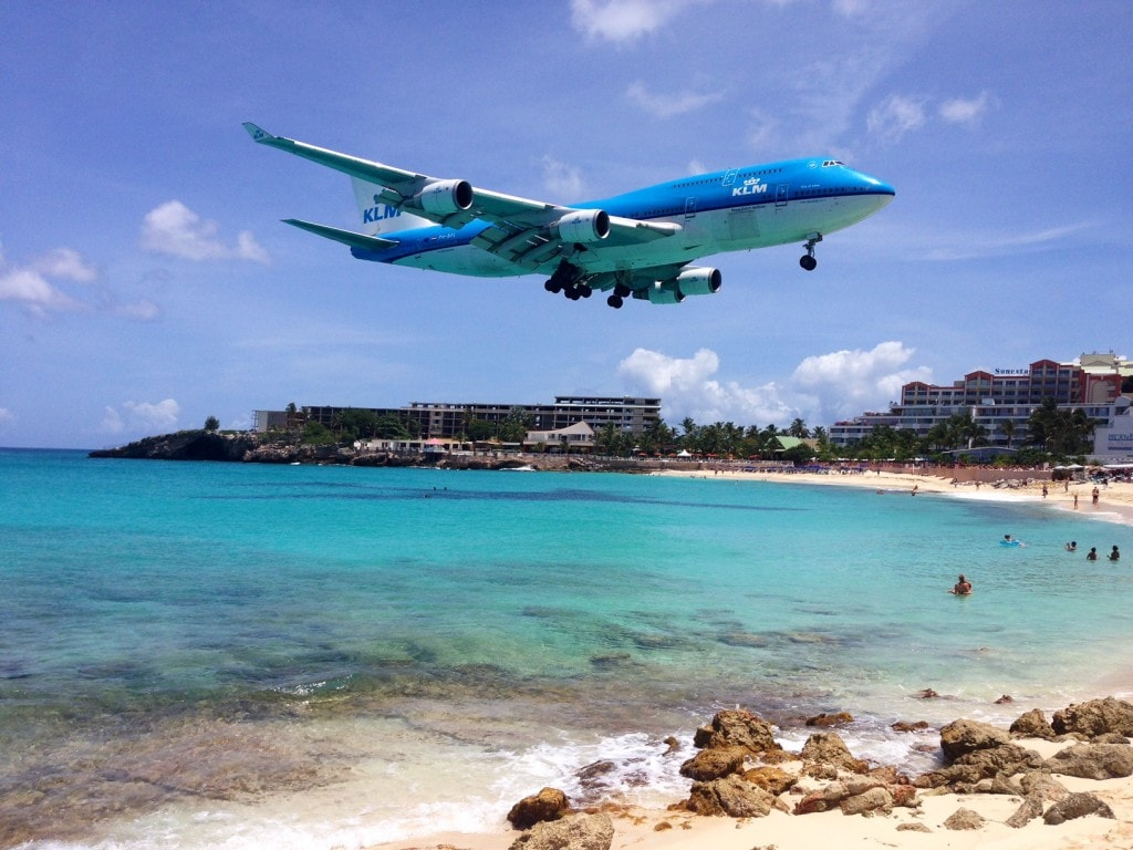 """Plane spotting in Maho Beach in St. Martin - """"Our 2016 Travel Wish List"""" - Two Traveling Texans"""