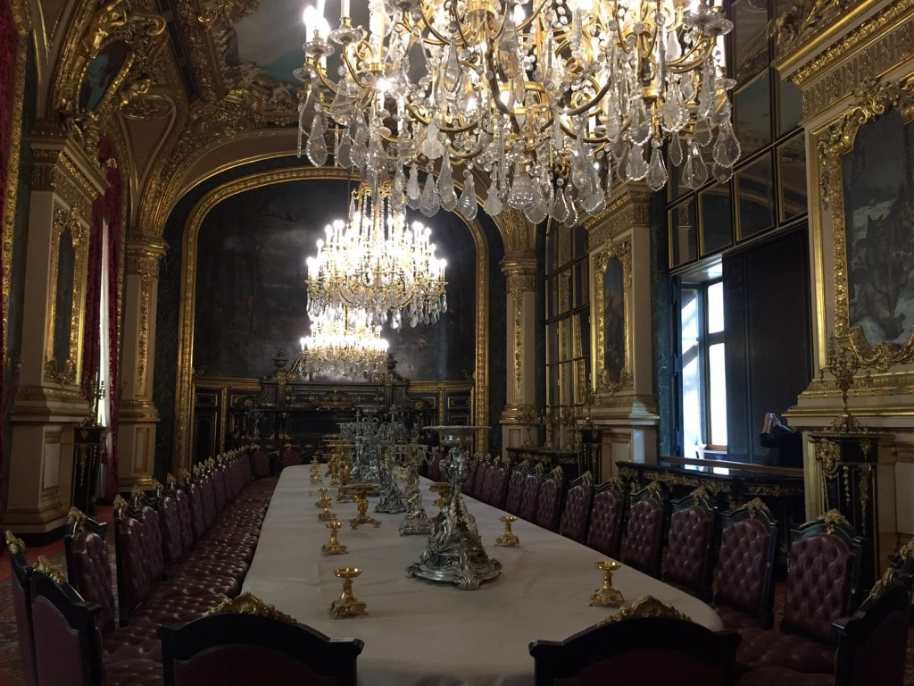 The formal dining area in Napoleon's Apartments.