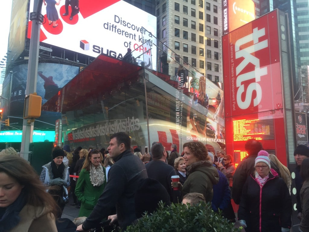 """The madness that is the TKTs booth in Times Square. - """"How to Save Money on Broadway Tickets"""" - Two Traveling Texans"""