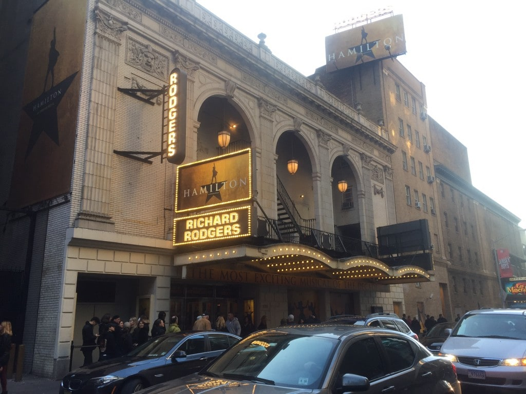 """The theater for Hamilton, the hottest ticket in town. No discounts are available. - """"How to Save Money on Broadway Tickets"""" - Two Traveling Texans"""