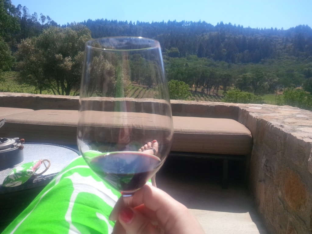 "Katherine relaxing and enjoying the wine at Trinchero - - ""10 Wine Tasting Tips and Tricks for Napa Valley"" - Two Traveling Texans"