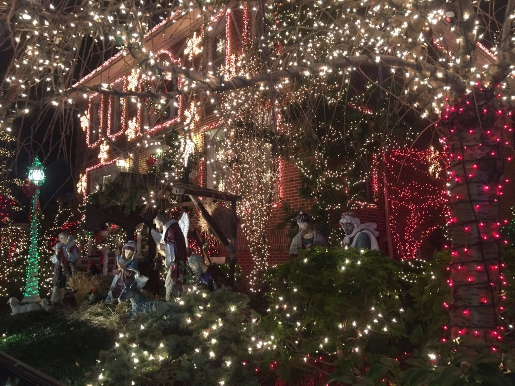 So many lights and a nativity scene....