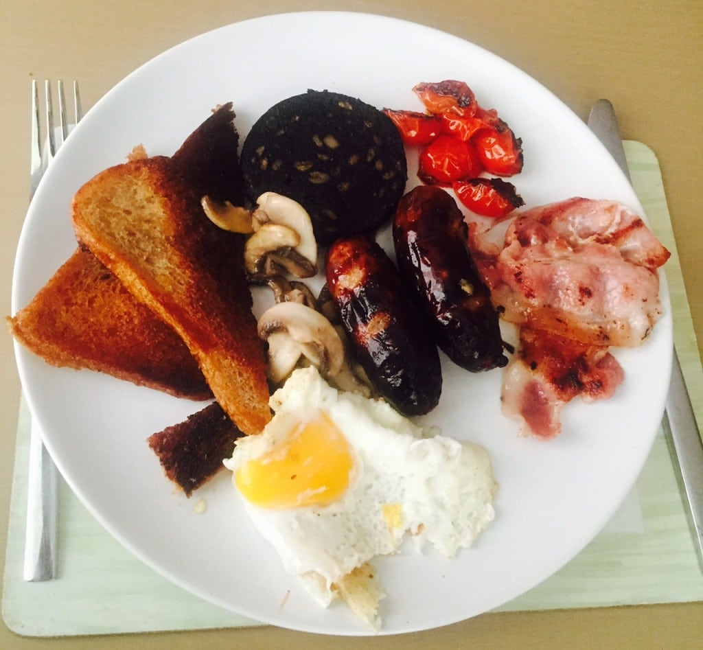 """English Breakfast made by Russell. Black Pudding is key. We intentionally left out beans because to me that's not a breakfast food. - """"Six British Foods We Need in the US"""" - Two Traveling Texans"""