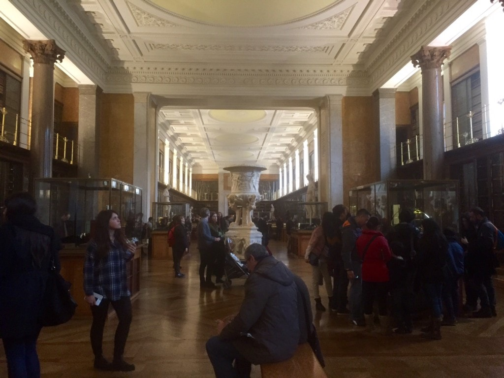 Room 1 in the British Museum. Lots to see including amazing books along the walls.