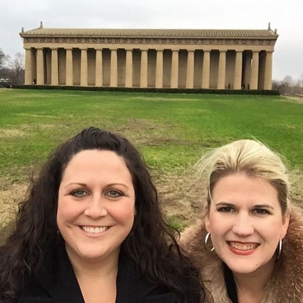 Rebekah and Katherine at the Parthenon in Nashville