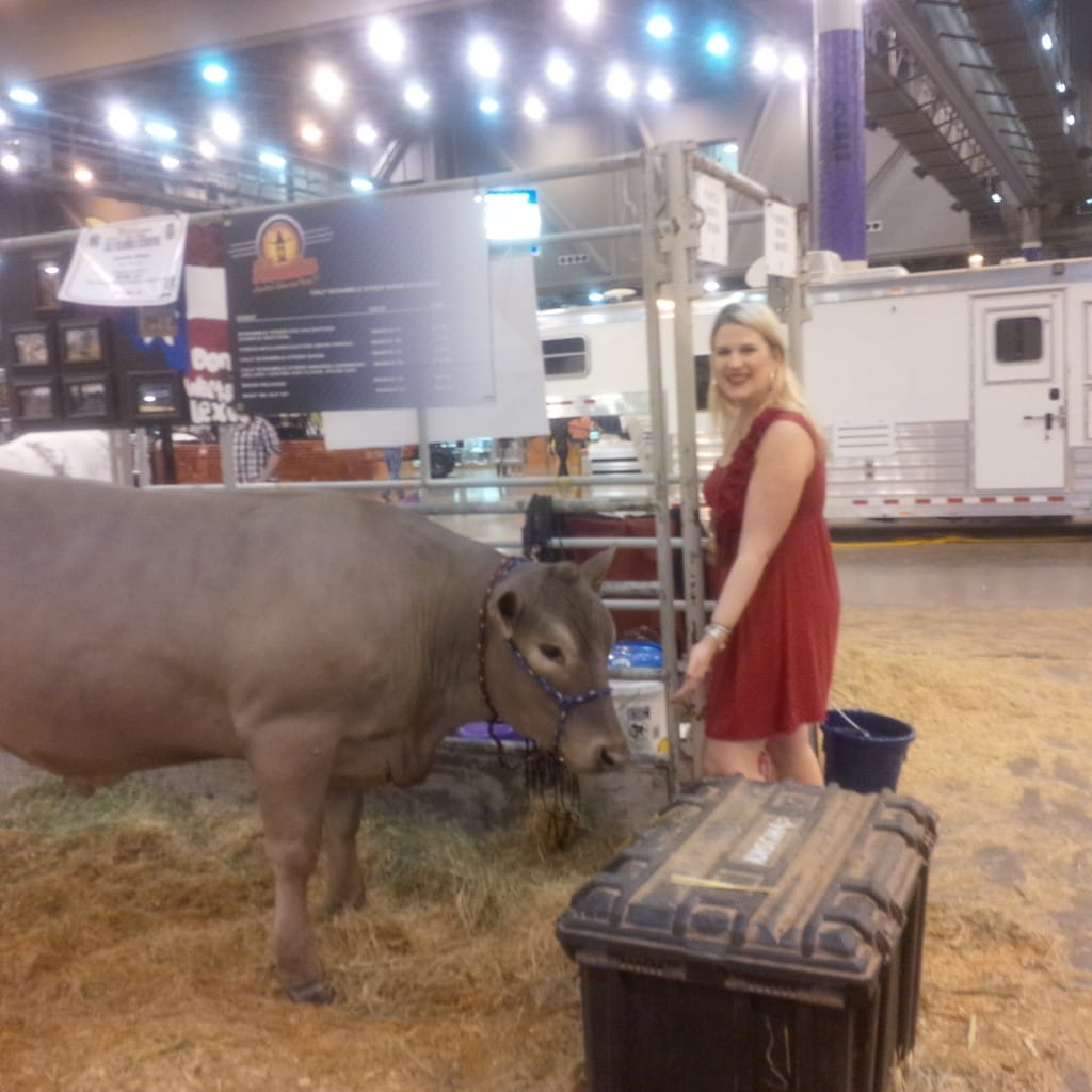 Katherine checking out the livestock