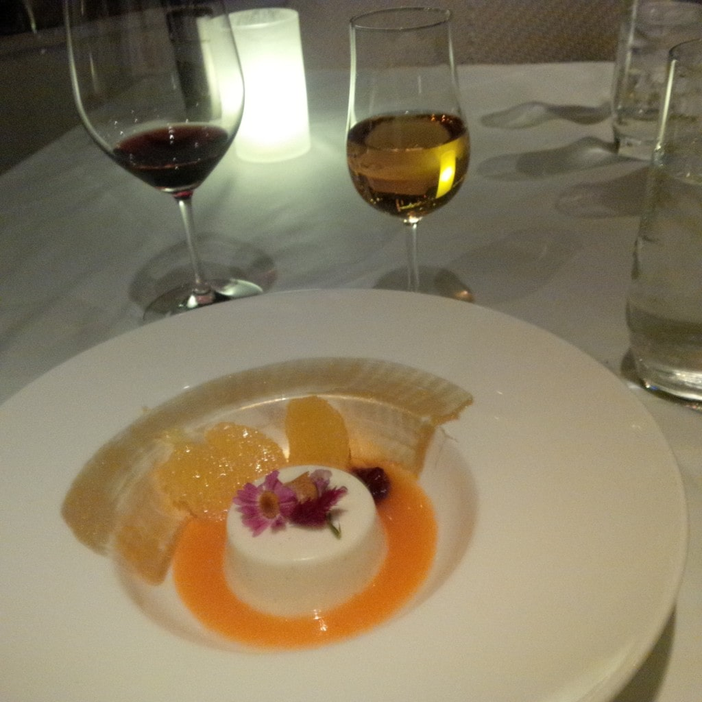 Panna Cotta, dessert wine and what was remaining of the wine served with my main course at 1500 Ocean