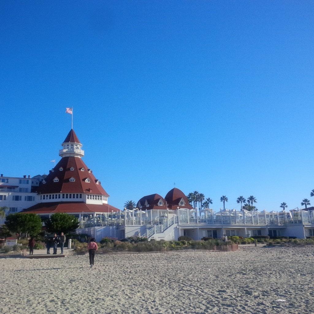View of the Hotel Del Coronado from the beach