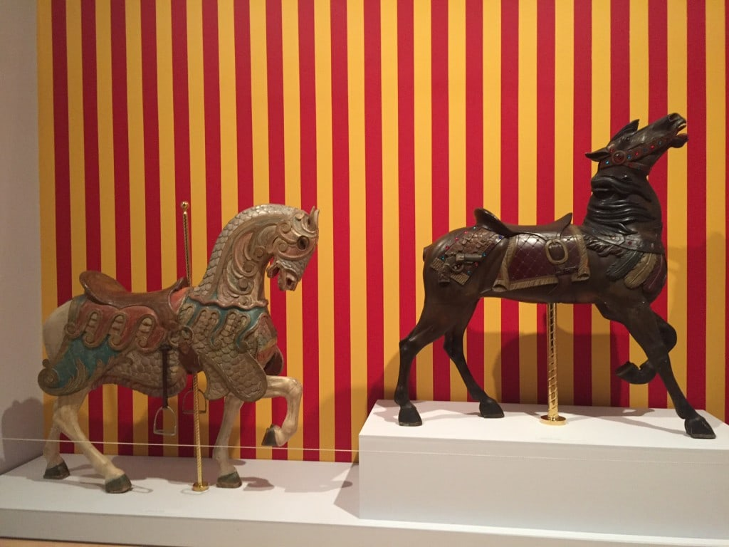 Two carousel horses