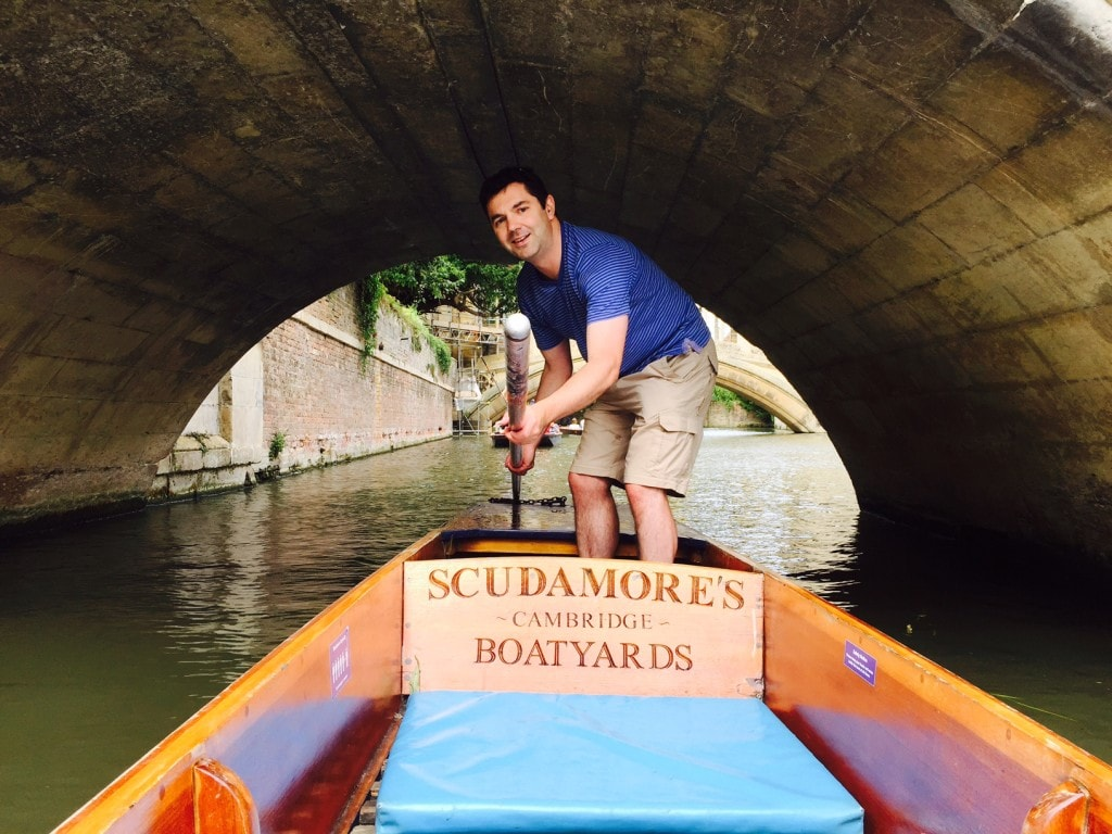 """Russell ducking as we passed under the bridge while punting in Cambridge. - """"Punting in Cambridge, England – And I am not Talking about Football"""" - Two Traveling Texans"""