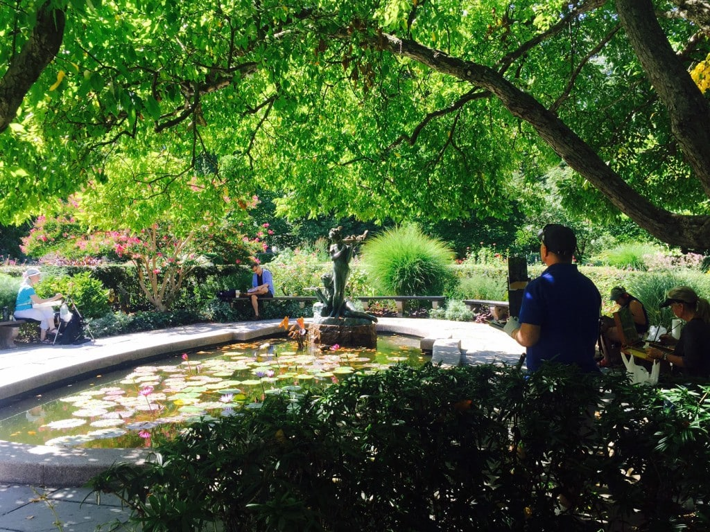 """The lily pond in the south section of the Conservatory Garden. - """"The Hidden Gems in Northern End of Central Park"""" - Two Traveling Texans"""