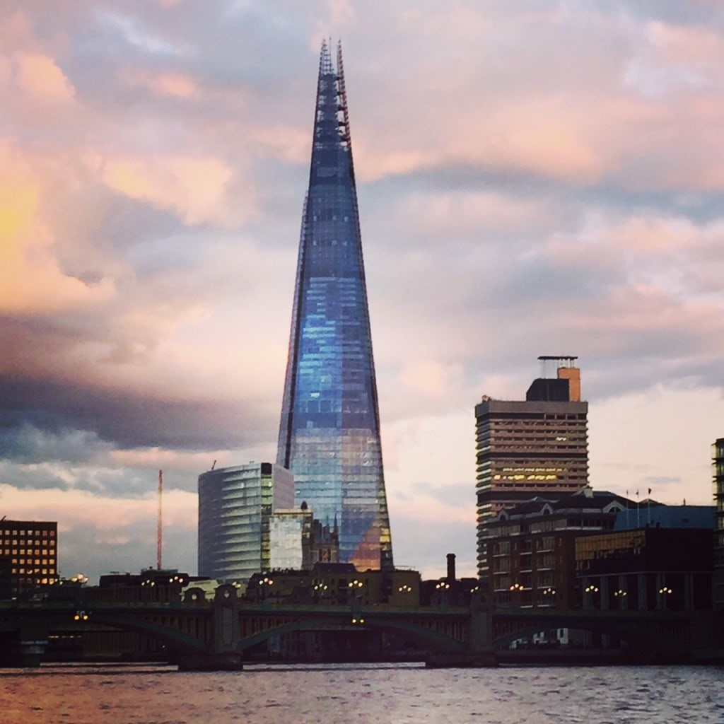 The Shard in London looks beautiful at sunset