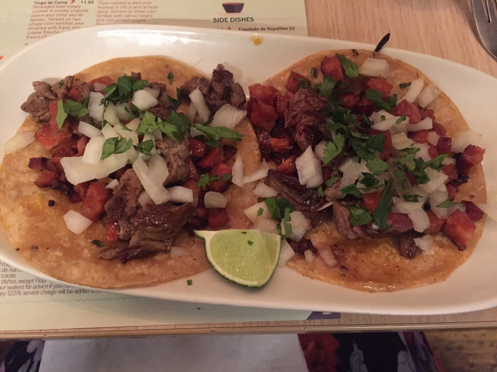 """The Campechano tacos, which are a combination of steak and sausage (chorizo).- """"Mexican Food Finds in London"""" - Two Traveling Texans"""