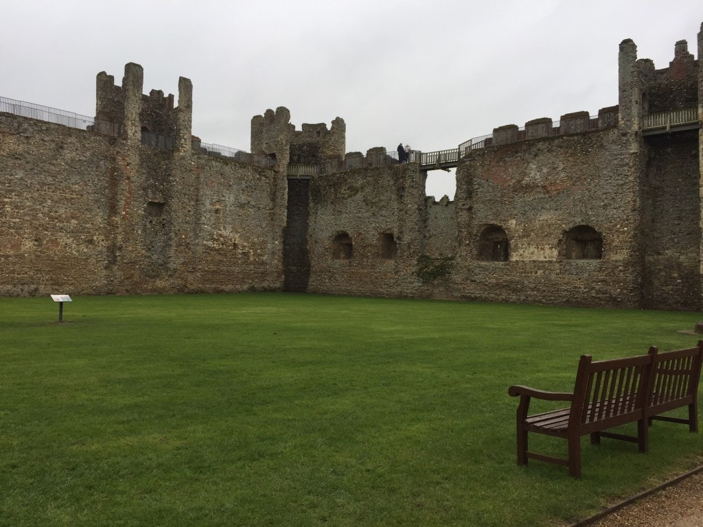 You can see the railing of the pathway for the Castle Wall Walk at Framlingham Castle.