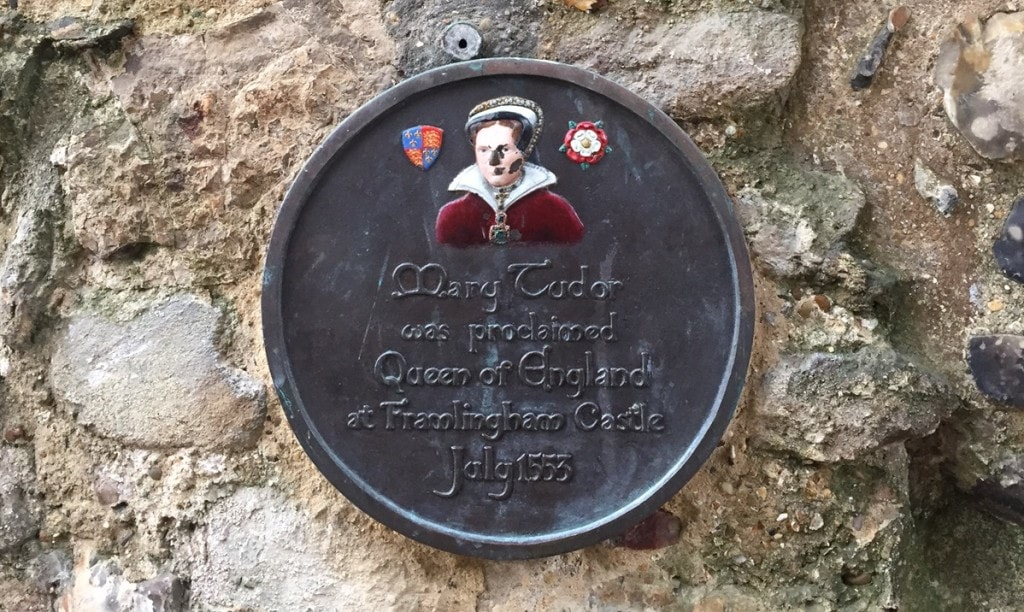 Plaque commemorating Mary's path to the throne at Framlingham Castle.