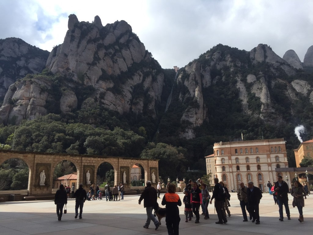 """The Plaza by the Basilica also has great views of the mountains. - """"Montserrat: Mountain, Monastery, and Wine"""" - Two Traveling Texans"""