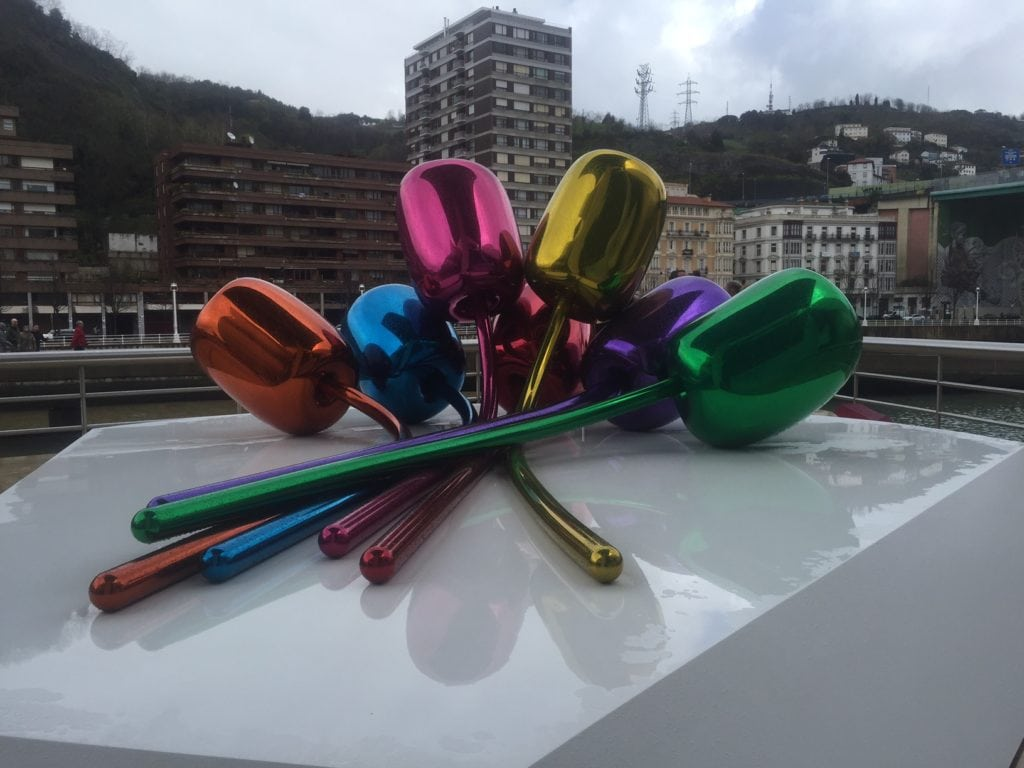 """Love the colors in the tulip sculpture! - """"One Day in Bilbao"""" - Two Traveling Texans"""