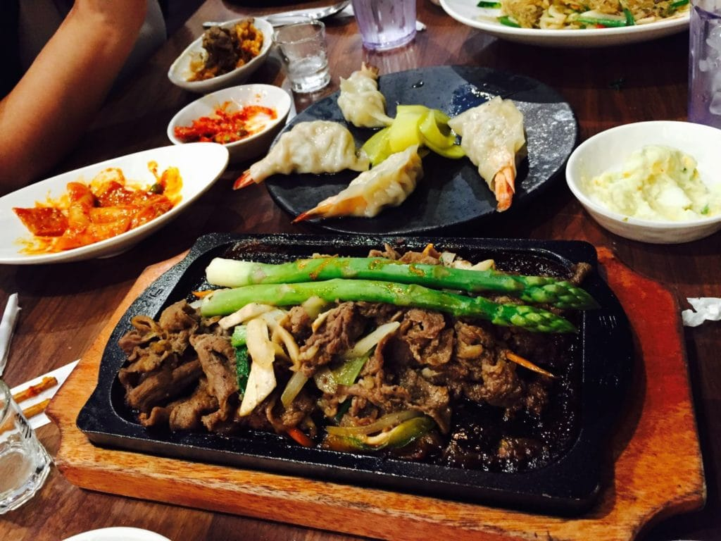 "Our food at Five Senses in Koreatown. Photo credit - Artee Sehgal - ""Koreatown: A Little Seoul in NYC"" - Two Traveling Texans"
