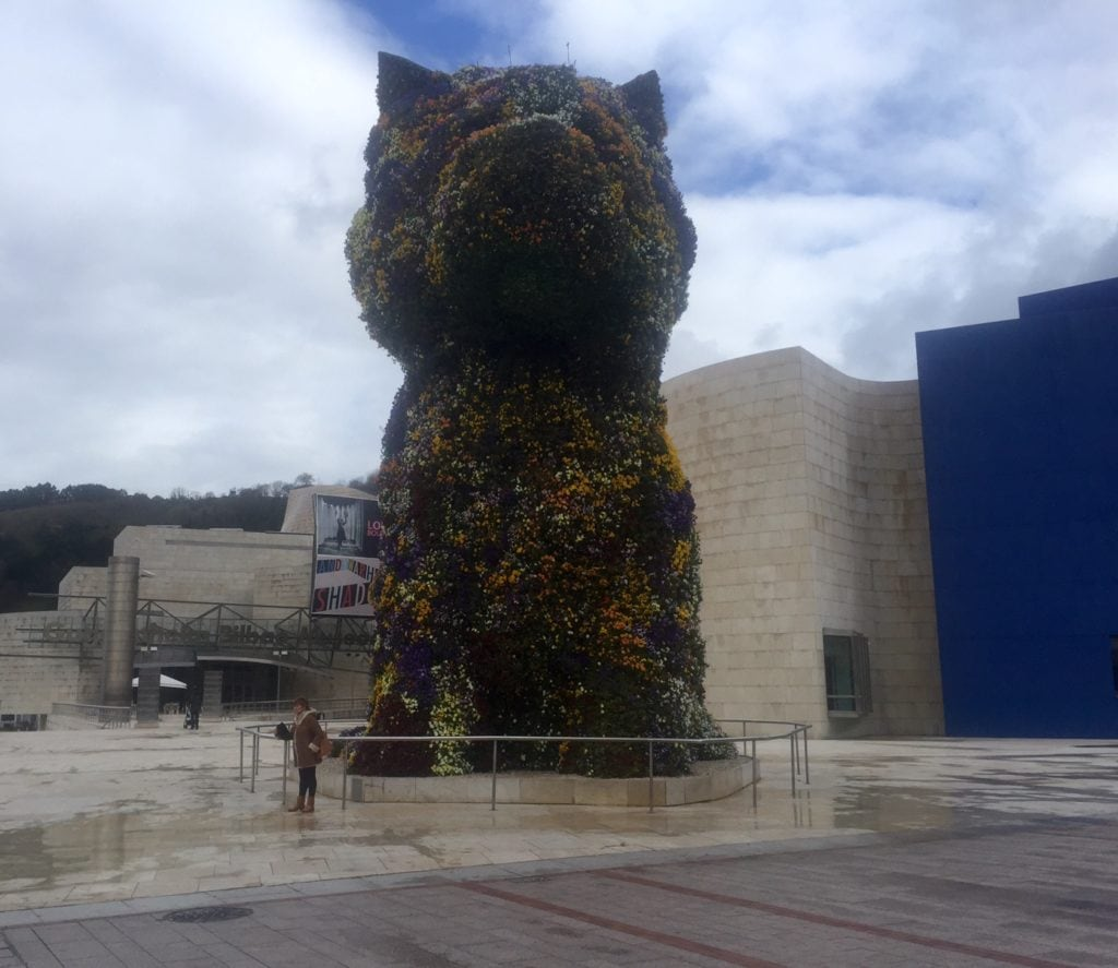"""The puppy flower topiary is huge! - """"One Day in Bilbao"""" - Two Traveling Texans"""