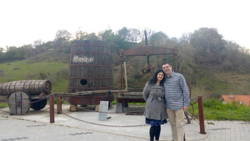 "Anisa and Russell outside the Petritegi Cider House. - ""Petritegi Cider House Rules"" - Two Traveling Texans"