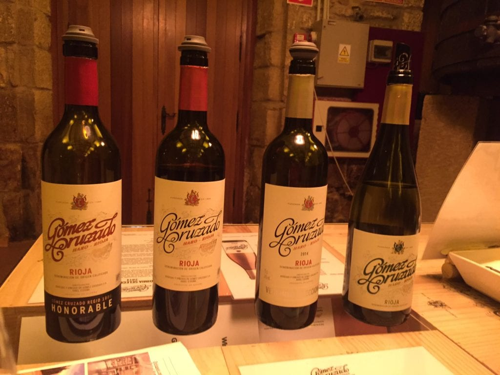 The wines we tasted from Gomez Cruzado.