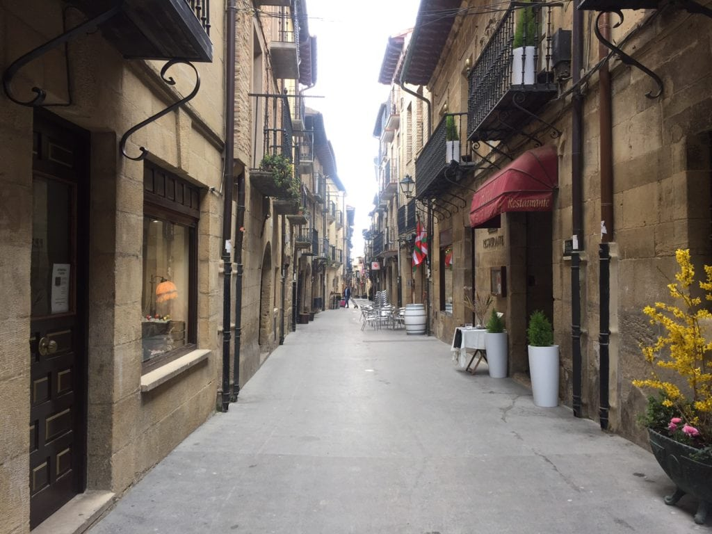 One of the many cute streets in the medieval town of Laguardia.