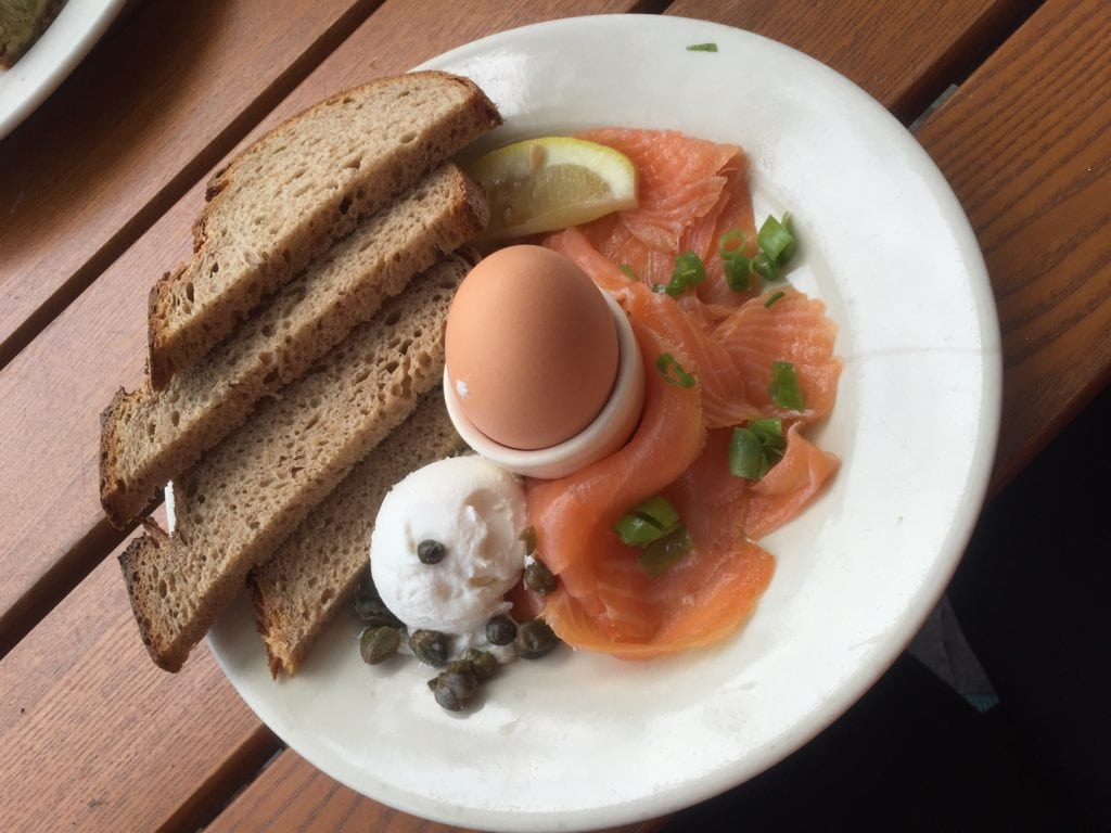 My brunch - smoked salmon, soft boiled egg, and riccota - a nice break while biking in Central