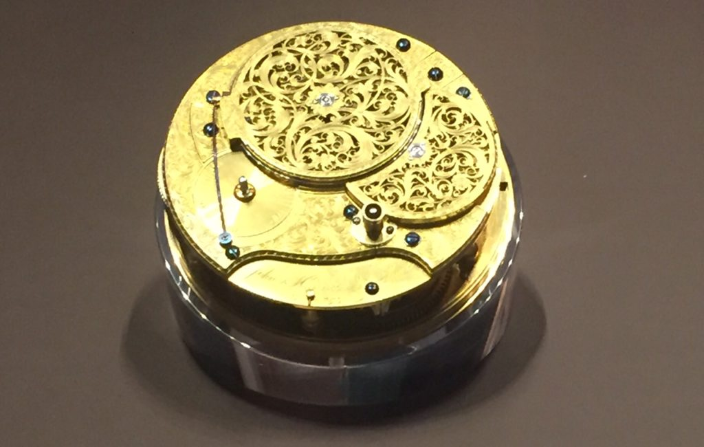 Harrison's fourth timekeeper, which finally proved that the timekeeper method of finding longitude was practical - on exhibit at the Greenwich Observatory.