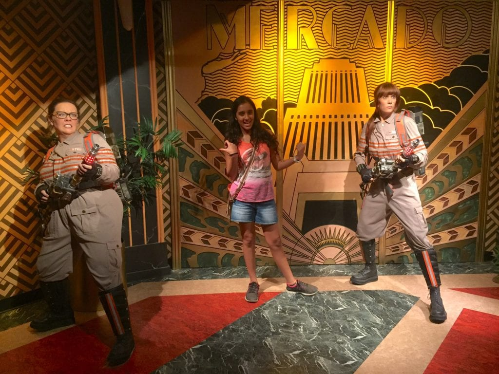 """Aanya with the new Ghostbusters. - """"Madame Tussauds NYC Ghostbusters Dimensions Experience"""" - Two Traveling Texans"""