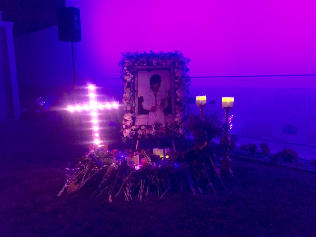 The memorial for Prince at the Hollywood Forever Cemetery