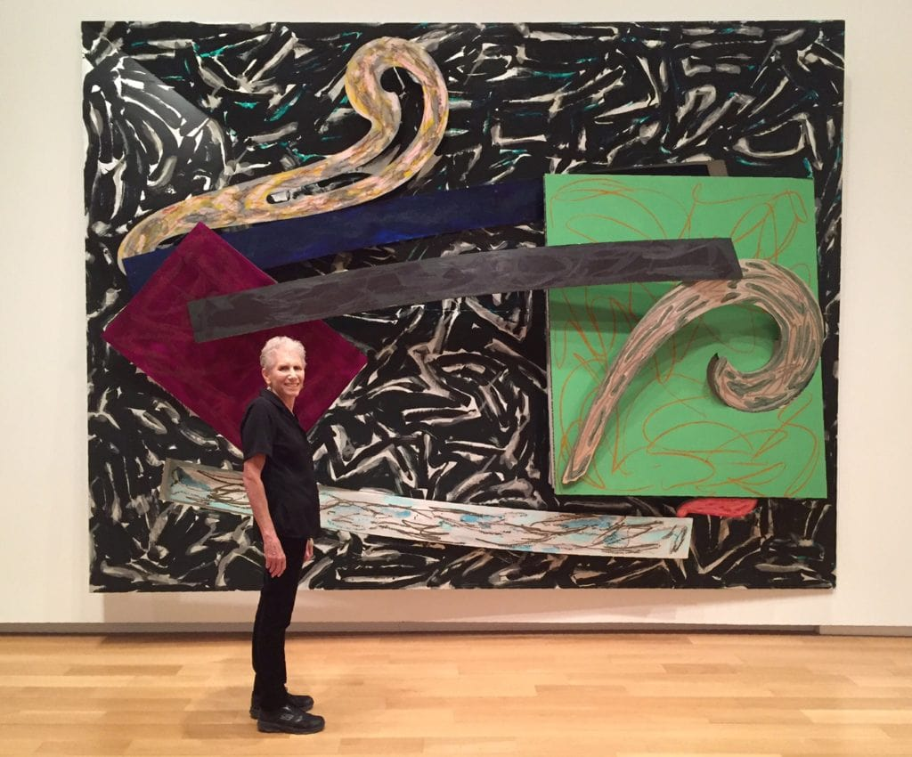 Mom in front of one of the 3D Frank Stella pieces at the Modern Art Museum of Fort Worth.
