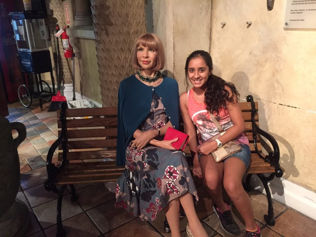 """Aanya with Anna Wintour, the famous editor of Vogue - """"Madame Tussauds NYC Ghostbusters Dimensions Experience"""" - Two Traveling Texans"""
