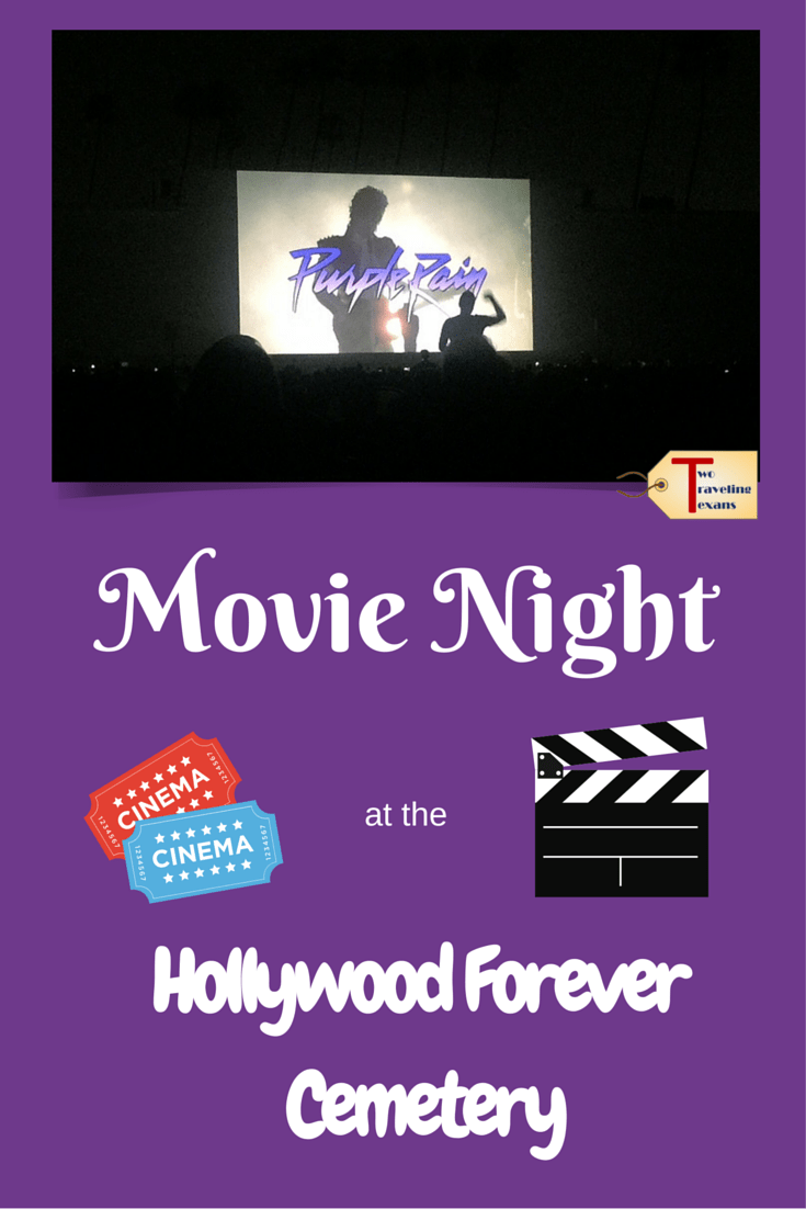 A travel blog about the experience of seeing a showing of the movie Purple Rain at the Hollywood Forever Cemetery with friends.