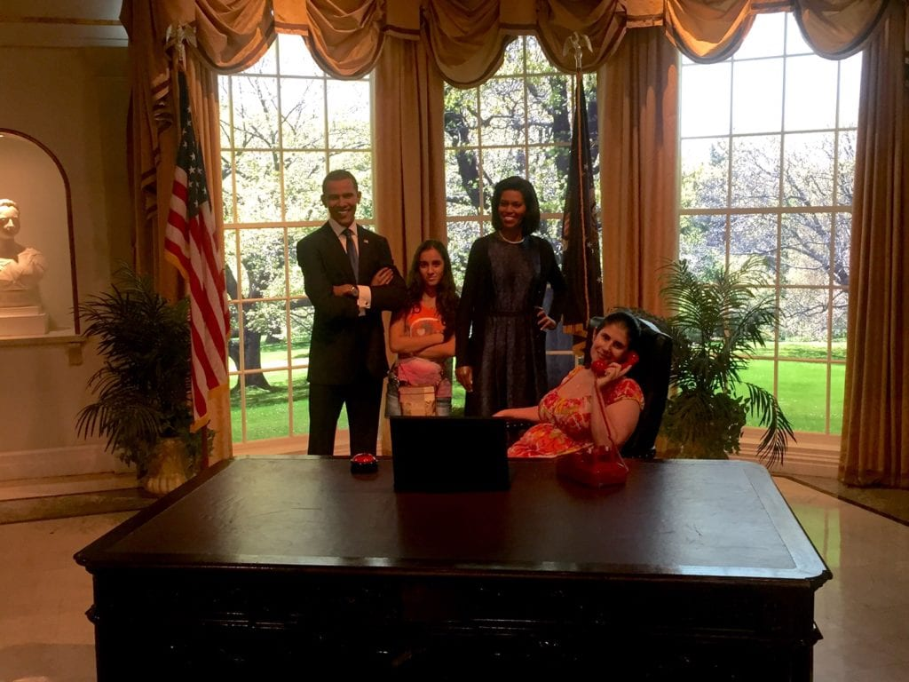 """Anisa and Aanya in the oval office with the Obamas. - """"Madame Tussauds NYC Ghostbusters Dimensions Experience"""" - Two Traveling Texans"""