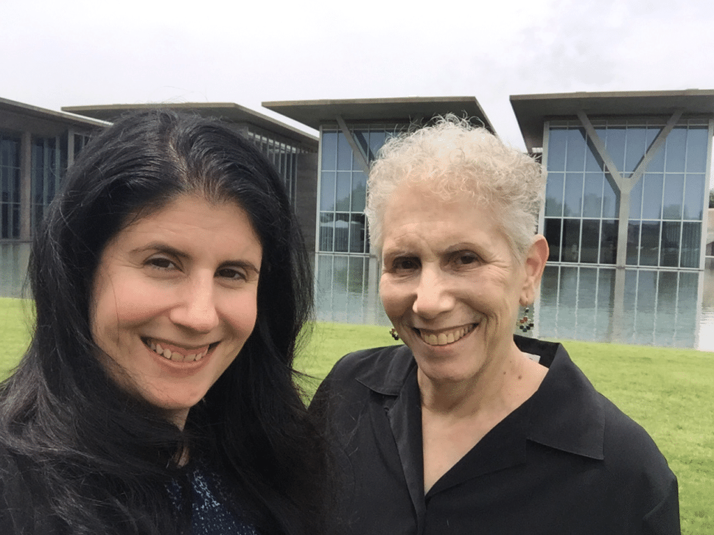Anisa and Mom selfie in the sculpture garden of the Modern.