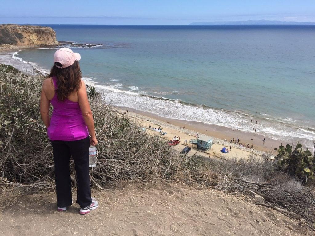 Kat looks down on the beach in Palos Verdes