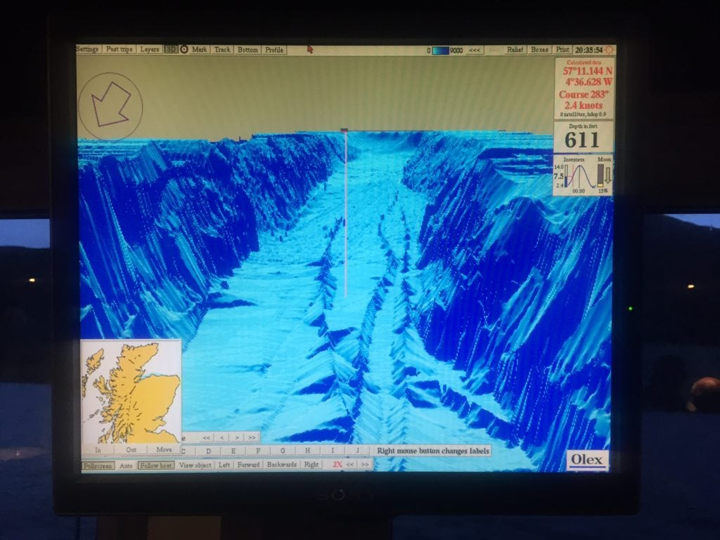 "One of the sonar screens that we learned about. You can see the dramatic changes in the depth of Loch Ness.- ""Loch Ness: Searching for Nessie"" - Two Traveling Texans"